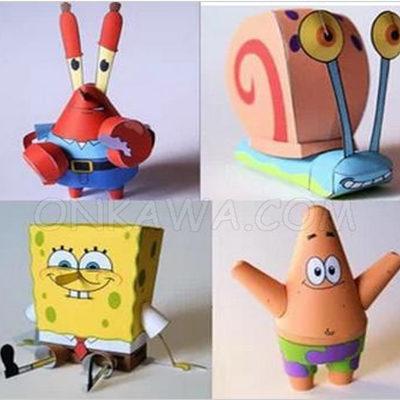papercraft bob esponja y amigos