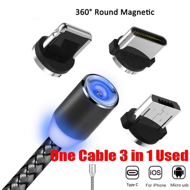 cable cargador usb magnético 360 grados 3 en 1
